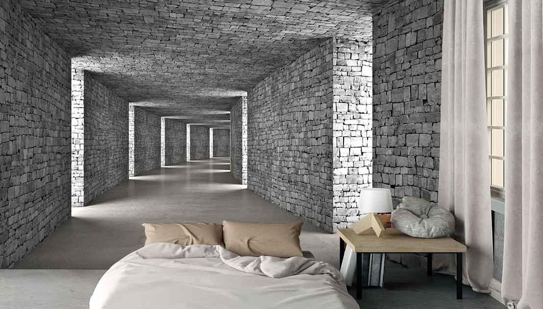 Fototapeta tunel 3d w cegły